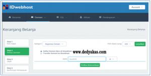 Dedy Akas 2 Panduan Cara Daftar Domain Baru di IDwebhost