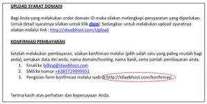 Dedy Akas 3 Panduan Cara Konfirmasi Pembayaran Domain Baru di IDwebhost