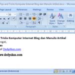 Dedy Akas Tips and Tricks Komputer Internet Blog dan Menulis Artikel