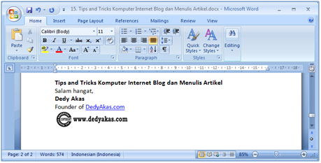 Dedy Akas Tips and Tricks Komputer Internet Blog dan Menulis Artikel