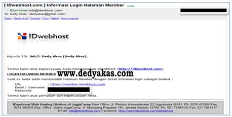 Panduan Cara Login di Halaman Member IDwebhost