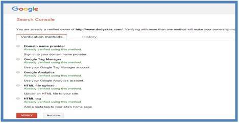 Akhirnya Verifikasi Webmaster Berhasil Semuanya - Dedy Akas Website