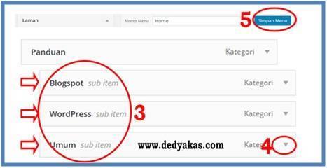 Panduan Belajar WordPress Membuat Halaman Kategori Menu Drop Down - Dedy Akas Website