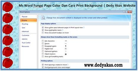 Ms Word Fungsi Page Color Dan Cara Print Background