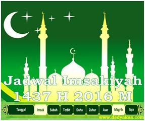 Jadwal Imsakiyah 1437 Hijriah 2016 Masehi - Dedy Akas Website
