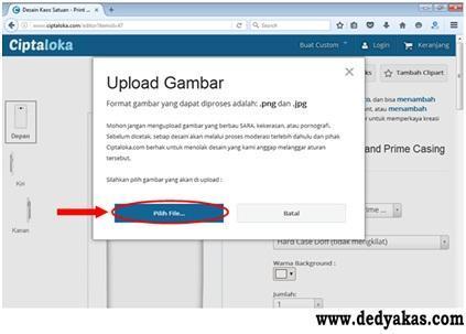 Langkah Kelima Membuat Desain Casing HP Di Ciptaloka - Dedy Akas Website