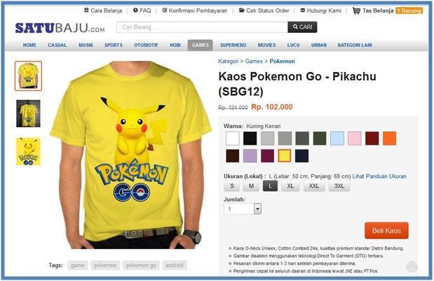 Kaos Pokemon Go - Pikachu - SatuBaju.com - Dedy Akas Website