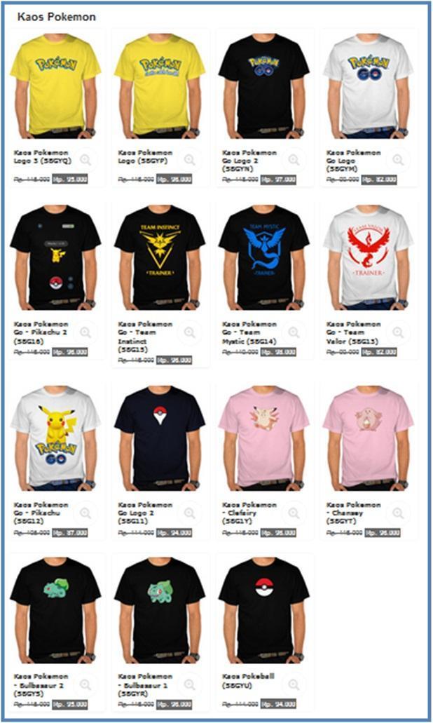 Macam Macam Kaos Pokemon - SatuBaju.com - Dedy Akas Website