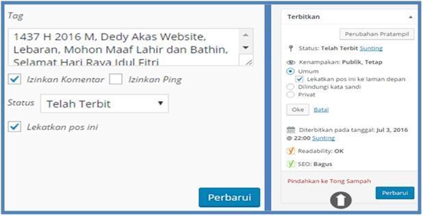 Sticky Post Di WordPress Agar Selalu Tampil Paling Atas Di Halaman Utama - Dedy Akas Website