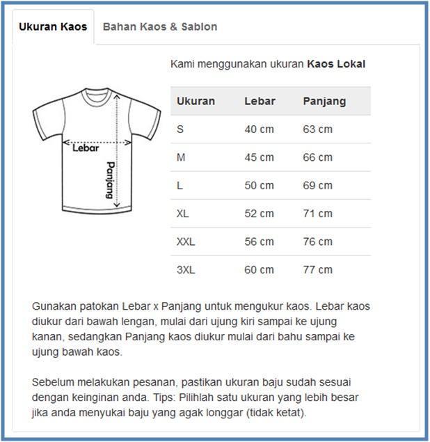 Ukuran Kaos SatuBaju.com - Dedy Akas Website