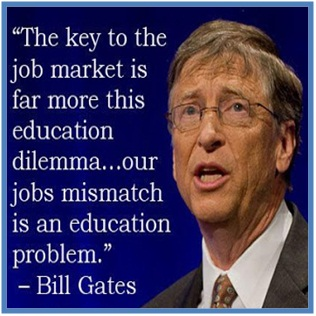 The key to the job market is far more this education dilemma… our jobs mismatch is an education problem, Bill Gates - Dedy Akas Website