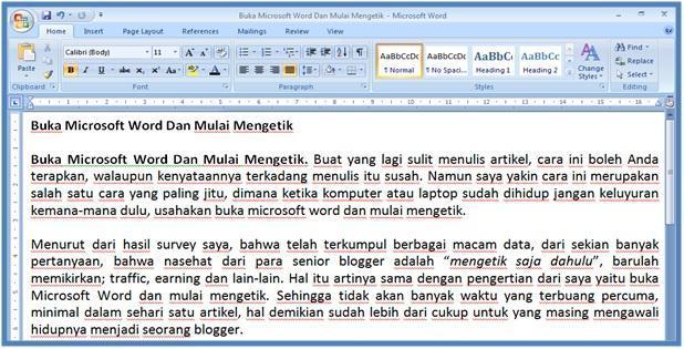 Buka Microsoft Word Dan Mulai Mengetik - Dedy Akas Website