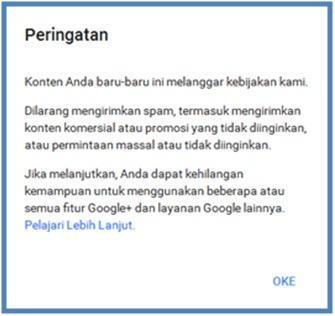 Peringatan Profil Google Plus Yang Ditangguhkan - Dedy Akas Website