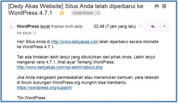 Email Pemberitahuan Wordpress 4.7.1