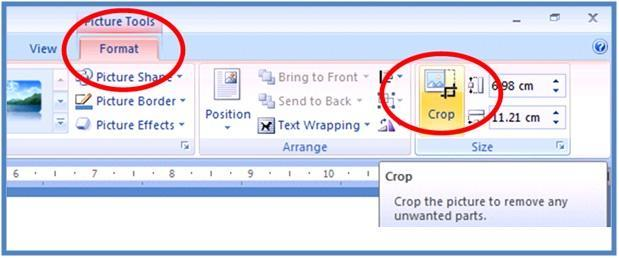Fitur crop, lalu lik fitur Format, setelah itu klik Crop