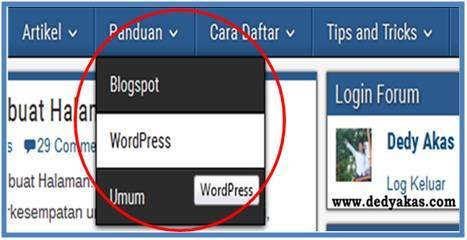 Panduan Belajar WordPress Membuat Halaman Menu Drop Down - Dedy Akas Website