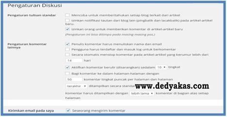 Panduan Belajar WordPress Pengaturan Tab Diskusi Komentar - Dedy Akas Website