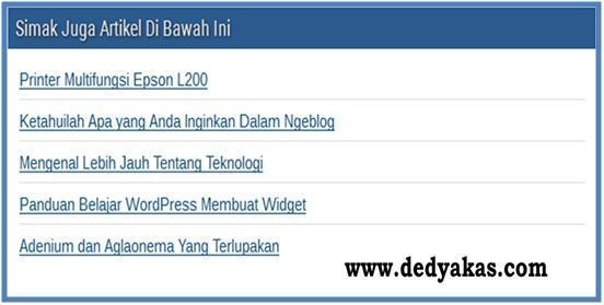 Related Post Atau Artikel Terkait - Dedy Akas Website