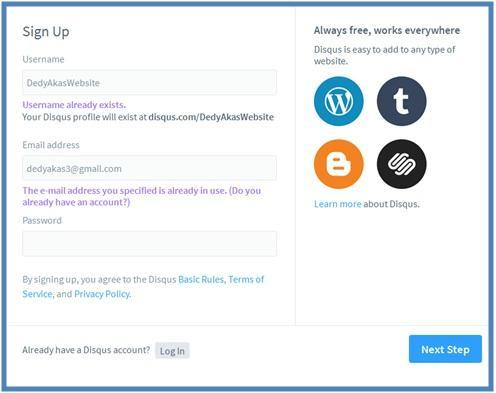 5 Cara Memasang Komentar Disqus di WordPress - Dedy Akas Website