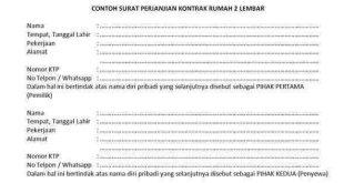 Contoh Surat Perjanjian Kontrak Rumah 2 Lembar