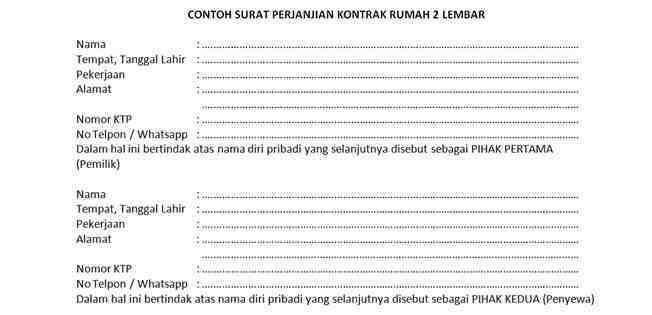 Contoh Surat Perjanjian Kontrak Rumah 2 Lembar Dedy Akas