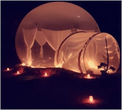Suasana Malam Hari Bubble Hotel Bali